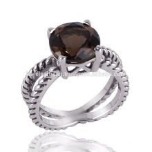 Старинные стерлингового серебра природных Somky кварц & помечена 925 кольцо для подарка