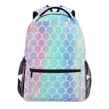 Girls Rainbow Mermaid Scales Travel Backpack Women Daypack Waterproof Laptop Backpack