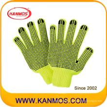 Hi-Vis Flurescent трикотажные рабочие перчатки для промышленной безопасности (61010TC)