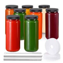 glass bottle supplier Wholesale empty round 16oz 500ml glass juice bottle with plastic screw lid