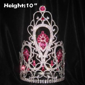 Coronas de diamantes de reina de concurso de 10 pulgadas de altura al por mayor