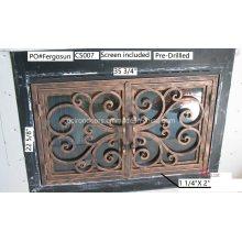 Puerta de hierro para chimenea fabricada en vidrio templado