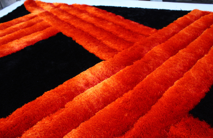 Polyester Shaggy Rug 3D Design Black & Red Color