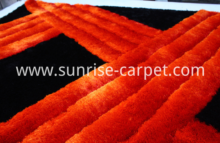 Polyester Shaggy Rug 3D Design Black & Red Color