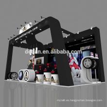 Detian ofrece una exposición modular con diseño de cabina de neumáticos revestida de madera