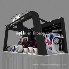 Detian offer modular exhibition display wood coated tyre booth design