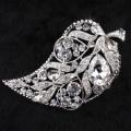 Fashion Jewelry Wholesale Wedding Brooches Crystal rhinestone Leaf shape Brooch Pins For Women