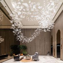 Lámpara de araña de cristal de sala de estar elegante villa