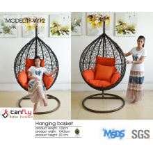Wicker balcony hanging egg chair with cushion color option and stand.