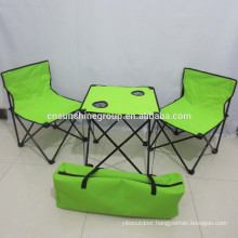 Outdoor steel and fabric folding table and chair