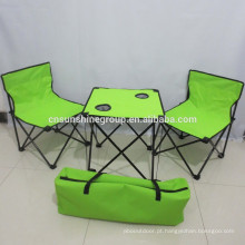 Aço ao ar livre e tela dobrável de mesa e cadeira