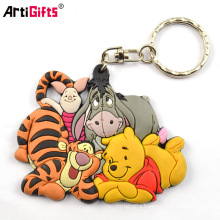 Custom Made Personalized Cheap Novetly Rubber Soft Pvc Tiger Keychain