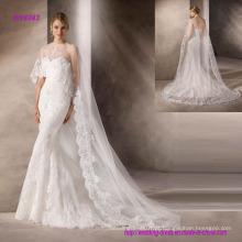 Vestido de noiva bela sereia com um decote querido em tule bordado maravilhoso
