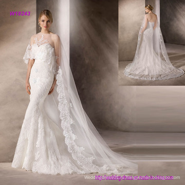 Красивая Русалка свадебное платье с декольте в чудесный вышитый тюль
