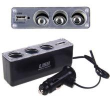 Enchufe de cigarrillo encendedor de 3 vías para encendedor de automóvil, cargador de encendedor DC Adaptador de corriente + USB