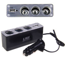 3 Way Multi Car Cigarette Socket Splitter Lighter Charger DC Power Adapter + USB