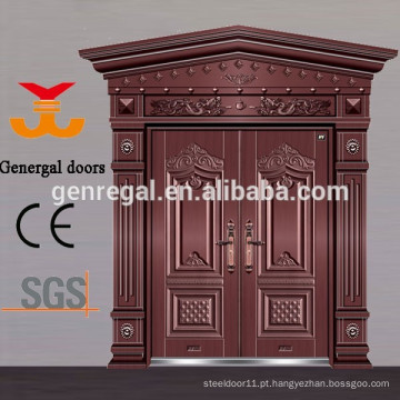 Portas de entrada de alumínio fundido de luxo estilo chinês