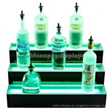 Suporte de exibição iluminado para garrafa de vinho em champanhe, barra de vinhos personalizada Exibição de contador de 3 etapas