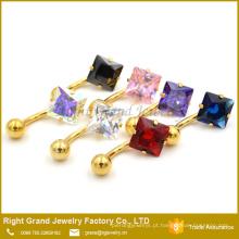 Anéis quadrados de aço inoxidável chapeados ouro personalizados da barriga do zircão