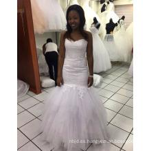 2017 Nueva China por encargo satén sirena vestidos de boda blanco puro