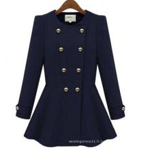 Manteau d'hiver à double boutonnage en laine sexy pour femme (50018-1)