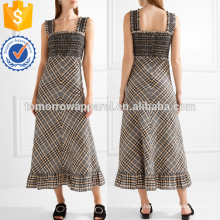 Multicolored Cotton Blend Seersucker Maxi Dress OEM/ODM Manufacture Wholesale Fashion Women Apparel (TA7113D)