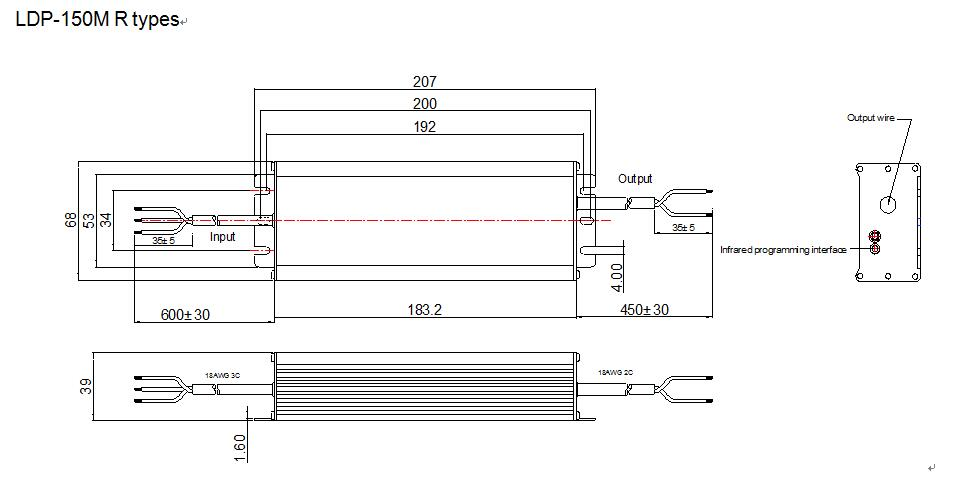 LDP-150R Mechanical drawing