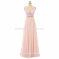 New collection beaded party dress strap real photo Chiffon floor length prom dress women 2017 with v neck and zipper design