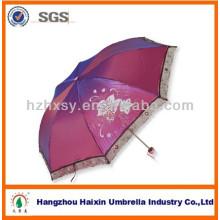 Paraguas de señora Fashion sólido Color con encaje ancho negro