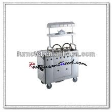 Chariot de service de thé de chariot à cuisine d'acier inoxydable de S098