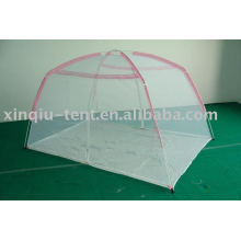 pink mesh children bed tent