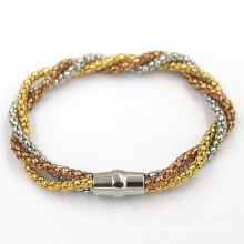Three Strips Chains Beads Bracelet with Metal Lock