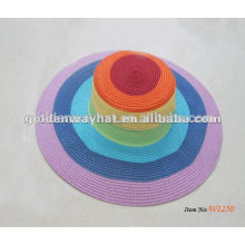 folding color straw beach hat blank