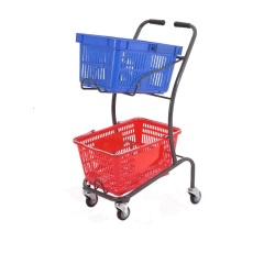 Japanese style double basket shopping cart trolley