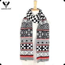 Зимний многоцветный жаккардовый геометрический узорный шарф