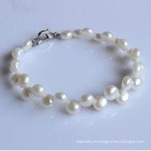 2 filas pulsera de perlas de agua dulce de moneda blanca (EB1521-1)