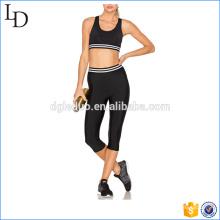 Schwarze Mesh bequeme enge Yogahosen und BH-Sets Yoga Overall tragen