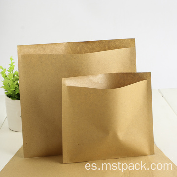 Bolsa de sellado lateral plana de papel Kraft biodegradable 3