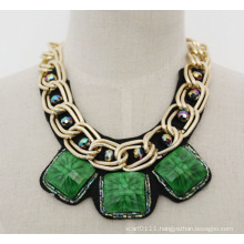 Ladies Fashion Green Acrylic Zircon Chunky Choker Collar Necklace (JE0019-3)