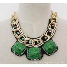 Дамы мода зеленый акриловые циркон коренастый колье воротник ожерелье (JE0019-3)