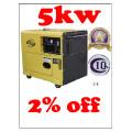Générateur diesel silencieux de cylindre simple 5kw BV SGS ISO CE