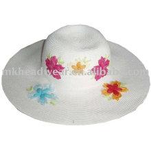 Sombrero de paja del papel de la manera de las señoras con el remiendo de la flor wrok