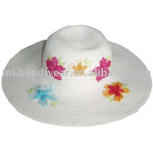ladies fashion paper straw hat with flower patch wrok