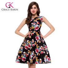 Wholesale Grace Karin New Design Sleeveless Cotton Retro Dress CL6086-19#