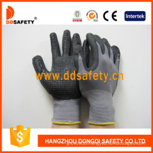 Grey Nylon Coated Nitrile Mini Dots Safety Gloves -Dnn143