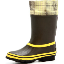 Yellow And Black Women Rubber Rain Boots With Grid Cover