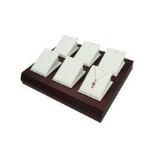 Bandeja de armazenamento de jóias de couro branco personalizada para 6 pingentes