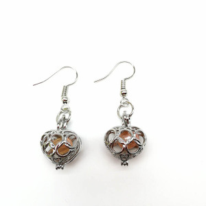 Pearl Oyster Locket Cage Pendant Dangle Earrings