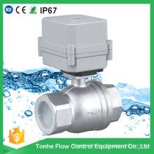 Dn40 1 1/2 pulgadas DC12V Bsp NPT de acero inoxidable de agua eléctrica válvula de bola motorizada