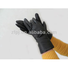 plain style embroid gloves leather